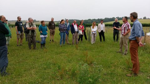 Stuart Holm (Woodland Trust) and Chris Stoate (GWCT) introduce the agroforestry trial